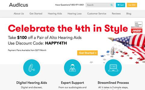 Screenshot of Home Page audicus.com - Digital Hearing Aids | Audicus Hearing Aids - captured July 4, 2016