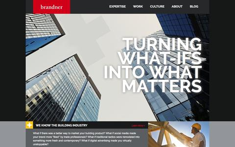 Screenshot of Home Page brandner.com - Brandner Communications | Advertising Agency for Building Products | Building Industry Marketing - captured Feb. 2, 2016
