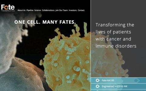 Screenshot of Home Page fatetherapeutics.com - Home - Fate Therapeutics - captured Oct. 13, 2017