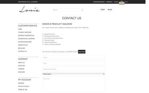 Screenshot of Contact Page Support Page loniashoes.com - Contact Us - captured July 17, 2016