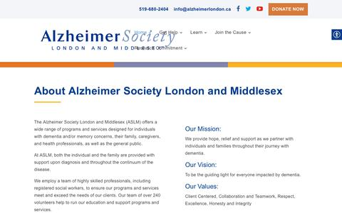 Screenshot of About Page alzheimerlondon.ca - Dementia, Memory | Alzheimer Society London and Middlesex - captured Oct. 3, 2018
