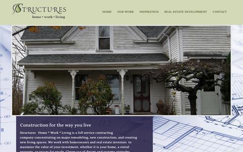 Screenshot of Home Page structureshomeworkliving.com - Structures – Home * Work * Living - captured Nov. 9, 2017