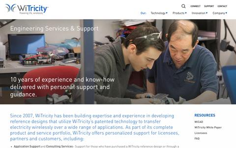 Screenshot of Support Page witricity.com - Engineering Services & Support - WiTricity - captured Feb. 11, 2017