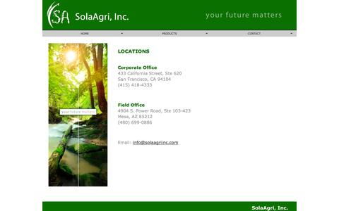 Screenshot of Locations Page solaagriinc.com - SolaAgri, Inc. - Locations - captured Oct. 7, 2014