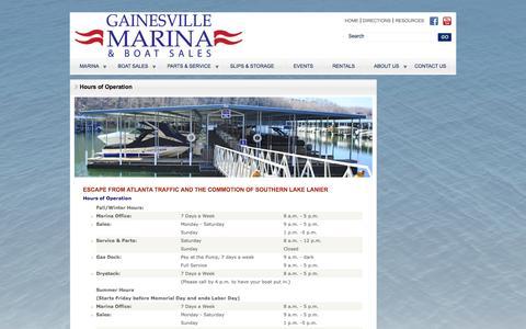 Screenshot of Hours Page gainesvillemarina.com captured Sept. 29, 2014