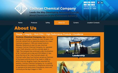 Screenshot of About Page cochranchemical.com - About Cochran Chemical Company - captured Nov. 8, 2016