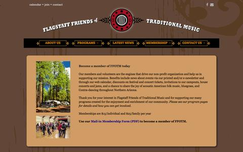 Screenshot of Signup Page ffotm.org - FFOTM Membership - Flagstaff Friends of Traditional Music - captured Feb. 10, 2016