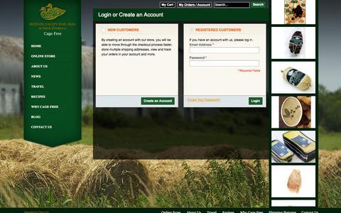 Screenshot of Login Page hudsonvalleyfoiegras.com - Customer Login - captured Sept. 30, 2014