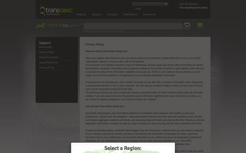 Screenshot of Privacy Page transomic.com - Privacy Policy - captured Sept. 12, 2014