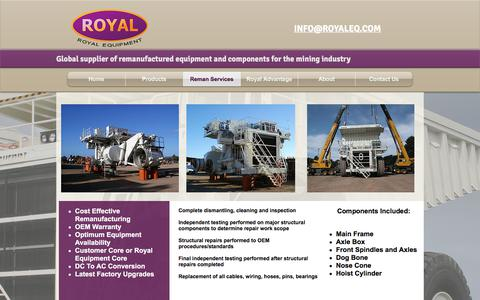 Screenshot of Services Page royaleq.com - Royal Equipment Remanufactured Mining Equipment - captured Oct. 23, 2017