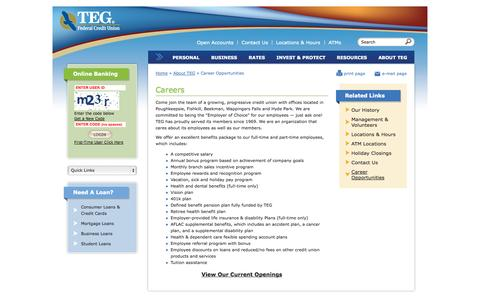 Screenshot of Jobs Page tegfcu.com - Career Opportunities | TEG Federal Credit Union - captured Oct. 6, 2014