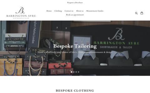 Screenshot of Home Page barringtonayre.co.uk - Barrington Ayre Bespoke Shirtmaker and Tailor – Barrington Ayre Shirtmaker & Tailor - captured Oct. 5, 2018