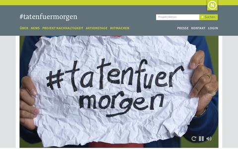 Screenshot of Home Page tatenfuermorgen.de captured Jan. 22, 2017