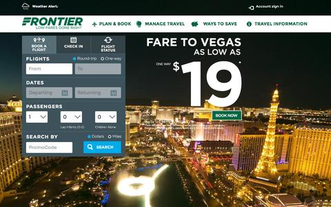 Screenshot of Home Page flyfrontier.com - Low Fares Done Right | Frontier Airlines | Cheap Fares - captured Dec. 2, 2015