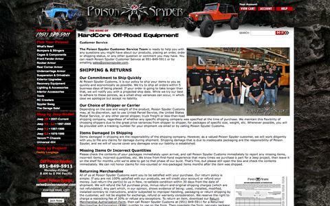 Screenshot of Support Page poisonspyder.com - Poison Spyder Customs: Customer Service - captured Sept. 19, 2014