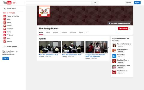 Screenshot of YouTube Page youtube.com - The Sweep Doctor  - YouTube - captured Oct. 25, 2014