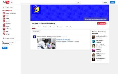 Screenshot of YouTube Page youtube.com - Peninsula Dental Millsboro  - YouTube - captured Oct. 22, 2014