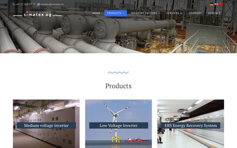 Screenshot of Products Page simatex.ch - Simatex AG - Products - captured Sept. 20, 2018