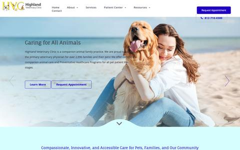 Screenshot of Home Page Testimonials Page highlandvet.net - Highland Veterinary Clinic | Evansville IN Vet - captured Sept. 28, 2018