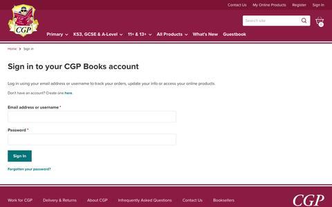 Screenshot of Login Page cgpbooks.co.uk - Sign in | CGP Books - captured Dec. 13, 2018