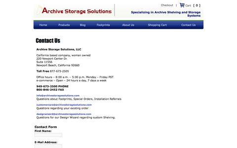 Screenshot of Contact Page archivestoragesolutions.com - Contact Us, Archive Storage Solutions - captured Oct. 4, 2014