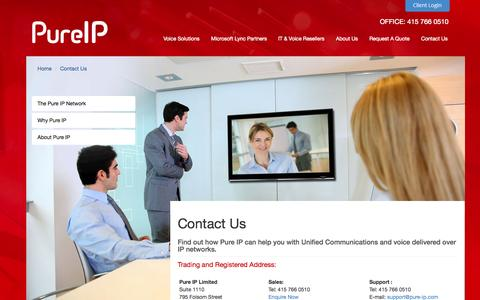 Screenshot of Contact Page pure-ip.com - Contact Us  | Pure IP - captured Sept. 30, 2014