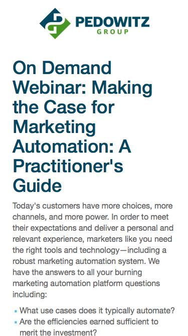 OnDemand Webinar: Making the Case for Marketing Automation: A Practitioner's Guide