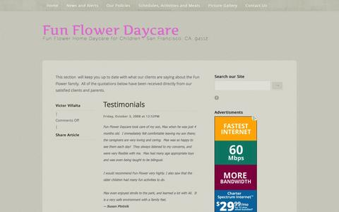 Screenshot of Testimonials Page funflowerdaycare.com - Fun Flower Daycare - Feedback andTestimonials - captured Jan. 8, 2016