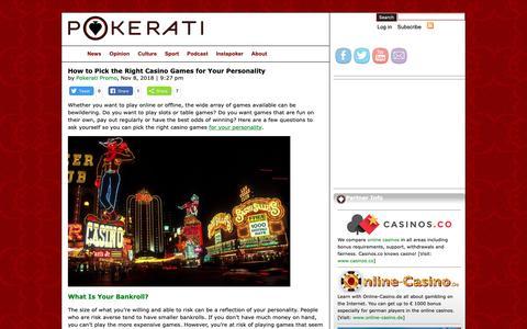 Screenshot of Home Page pokerati.com - Pokerati - captured Dec. 15, 2018