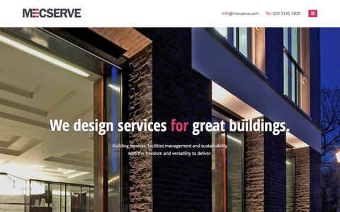 Screenshot of Home Page mecserve.com - Mecserve - environmental Engineering Consultants for Building Services, Facilities Management and Sustainability Design - captured Aug. 10, 2016