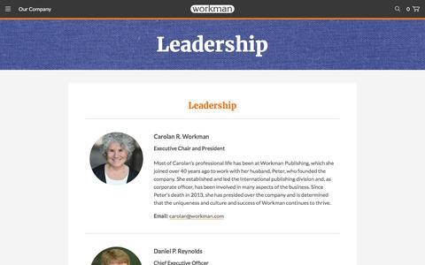 Screenshot of Team Page workman.com - Leadership - Workman Publishing - captured Sept. 4, 2016
