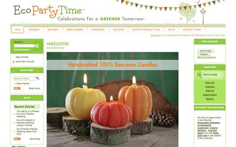 Screenshot of Home Page ecopartytime.com - Eco-friendly  green party supplies , Eco-tableware, Eco-costumes , Eco-decorations, Eco-favors - captured Oct. 2, 2014