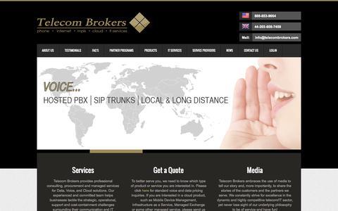 Screenshot of Home Page telecombrokers.com - Telecombrokers - captured Sept. 30, 2014