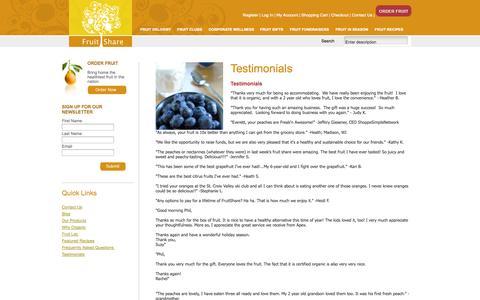 Screenshot of Testimonials Page fruitshare.com - Testimonials - captured Sept. 30, 2014