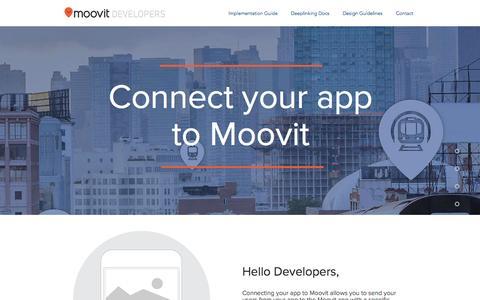Screenshot of Developers Page moovitapp.com - Moovit for Developers - captured March 7, 2016