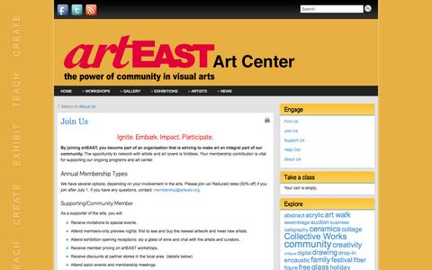 Screenshot of Signup Page arteast.org - artEAST Membership: Join Us! - captured Oct. 4, 2014