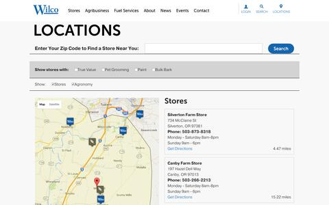 Screenshot of Locations Page wilco.coop - Locations - Wilco - captured Jan. 11, 2016