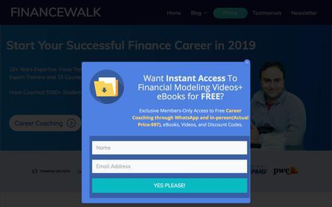 Screenshot of Home Page financewalk.com - FinanceWalk - Finance Made Simpler - captured Dec. 5, 2019