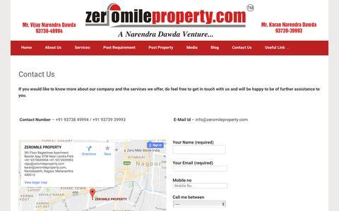 Screenshot of Contact Page zeromileproperty.com - Contact-us - Zero Miles Property - captured Nov. 28, 2016