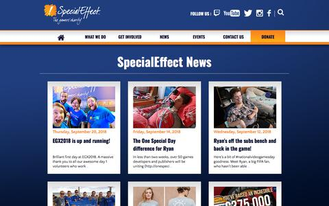 Screenshot of Press Page specialeffect.org.uk - News | SpecialEffect - captured Sept. 21, 2018
