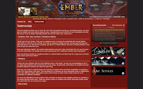 Screenshot of Testimonials Page emberrecording.com - Ember Recording Studio   (586)838-2833   mixing   mastering   voiceovers   audio   music   Detroit Recording Studio   Warren, MI - captured Oct. 1, 2014