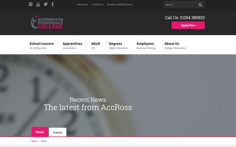 Screenshot of Press Page accross.ac.uk - News | Accrington and Rossendale College - captured Dec. 18, 2018