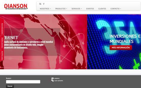 Screenshot of Home Page dianson.com - DIANSON INTERNACIONAL - captured Sept. 22, 2014