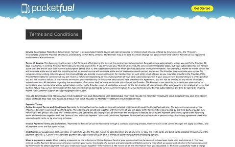 Screenshot of Terms Page getpocketfuel.com - Terms and Conditions   PocketFuel - captured Oct. 2, 2014
