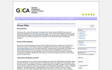 Screenshot of Privacy Page g3ca.org - Privacy Policy   Greater Charleston Contact Center Alliance - captured Oct. 3, 2014