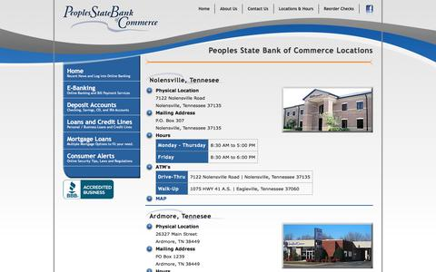 Screenshot of Locations Page psboc.com - Peoples State Bank of Commerce - captured Jan. 27, 2016