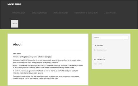 Screenshot of About Page margitcrane.com - About – Margit Crane - captured Sept. 28, 2018