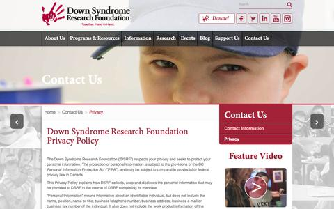 Screenshot of Privacy Page dsrf.org - Down Syndrome Research Foundation Privacy Policy - captured Oct. 9, 2018