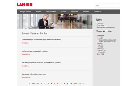 Screenshot of Press Page lanier.com.au - IT Services   Workflow   Printers   Photocopiers : Lanier Australia  - Newsroom - captured Oct. 2, 2014