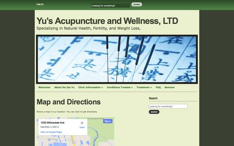 Screenshot of Maps & Directions Page yusacupuncture.com - Yu's Acupuncture and Wellness, LTD   » Map and Directions - captured Oct. 7, 2014